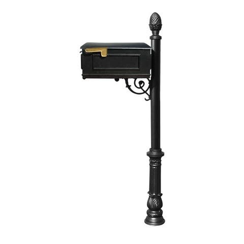 QualArc Lewiston Mailbox Post System with Ornate Base and Pineapple Finial (No Address Plates Or Numbers) - Black