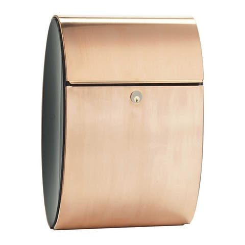 QualArc Allux Series Elliptical Shape Copper Mailbox with Convex Side