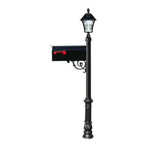 QualArc Lewiston Post with Economy #1 Mailbox, Ornate Base in Black Color with Black Solar Lamp