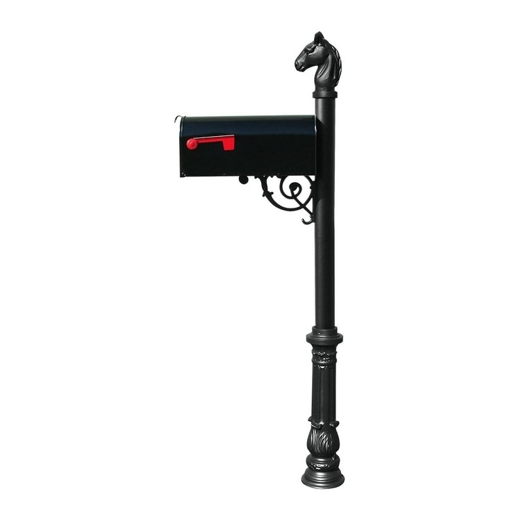 QualArc Lewiston Equine Post System with E1 Economy Mailbox, Mounting Plate, Ornate Base and Horsehead Finial - Black