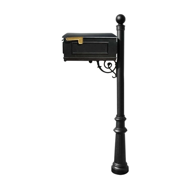 QualArc Lewiston Mailbox Post System with Fluted Base and Ball Finial (No Address Plates Or Numbers) - Black