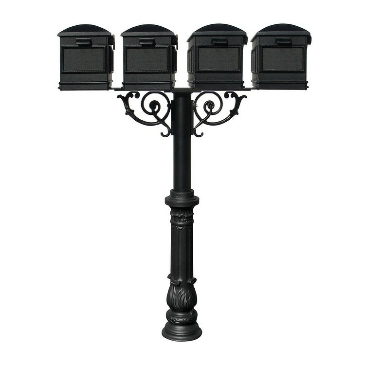 QualArc The Hanford Quad Mailbox Post System with Scroll Supports Decorative Ornate base 7, Four Lewiston Mailbox