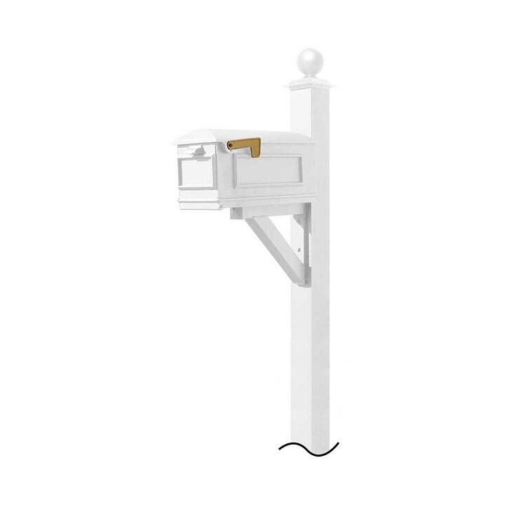 QualArc Westhaven System with Lewiston Mailbox (No Base) Large Ball Finial in White