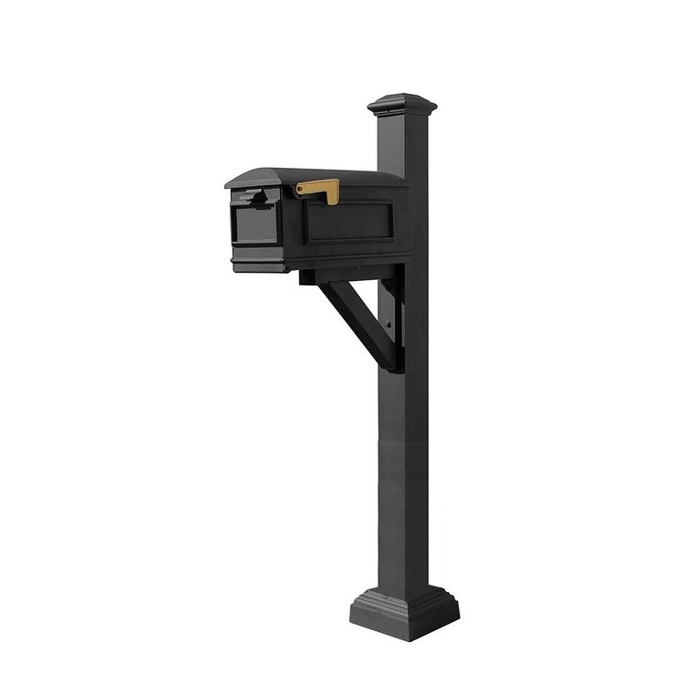 QualArc Westhaven System with Lewiston Mailbox, Square Collar and Pyramid Finial in Black