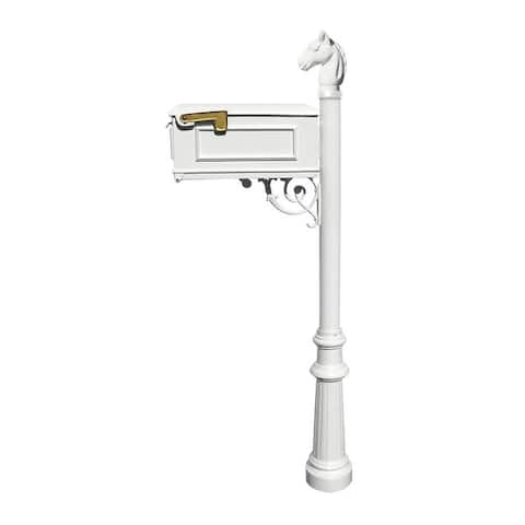 QualArc Lewiston Equine Mailbox Post System with Fluted Base and Horsehead Finial (No Address Plates Or Numbers) White