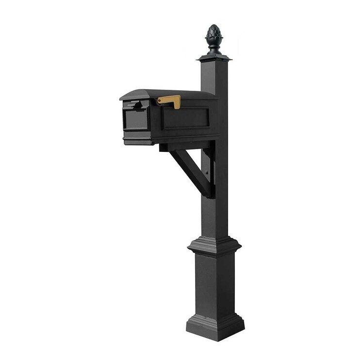 QualArc Westhaven System with Lewiston Mailbox, Square Base and Pineapple Finial in Black