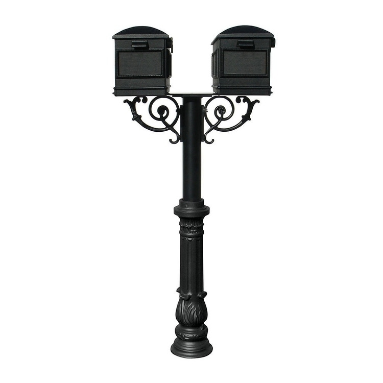 QualArc The Hanford Twin Mailbox Post System with Scroll Supports Decorative Ornate Base 7, Two Lewiston Mailbox