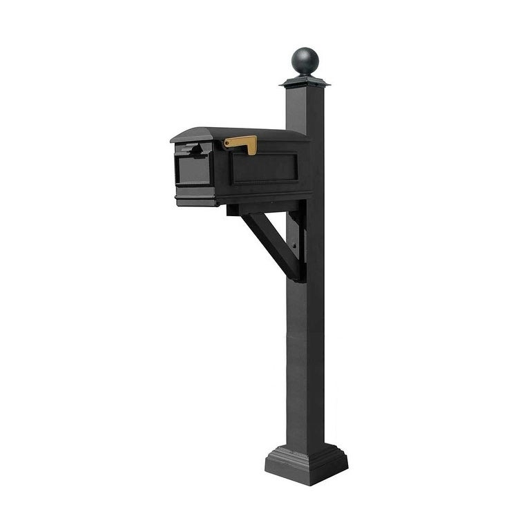 QualArc Westhaven System with Lewiston Mailbox, Square Collar and Large Ball Finial in Black