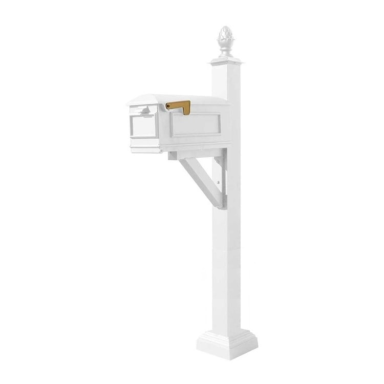 QualArc Westhaven System with Lewiston Mailbox, Square Collar and Pineapple Finial in White