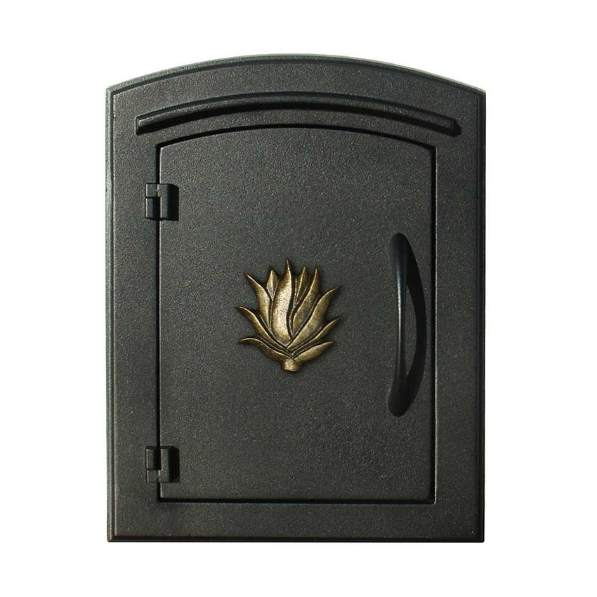 QualArc Manchester Non-Locking Column Mount Mailbox with Decorative Agave Logo in Black