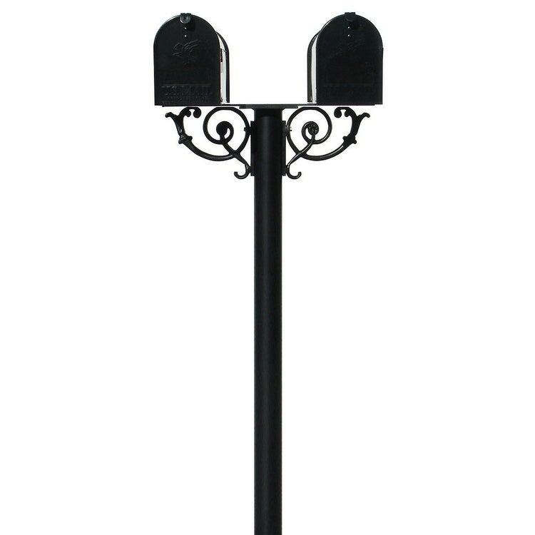 QualArc The Hanford Twin Mailbox Post System with Scroll Supports No Decorative Base, Support Braces