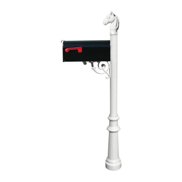QualArc Lewiston Equine Post System with E1 Economy Mailbox, Mounting Plate, Fluted Base and Horsehead Finial - White