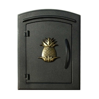 "QualArc Manchester Security Drop Chute Mailbox with ""Decorative Pineapple Logo"" Faceplate in Black"