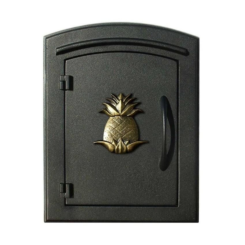 QualArc Manchester Non-Locking Column Mount Mailbox with Decorative Pineapple Logo in Black