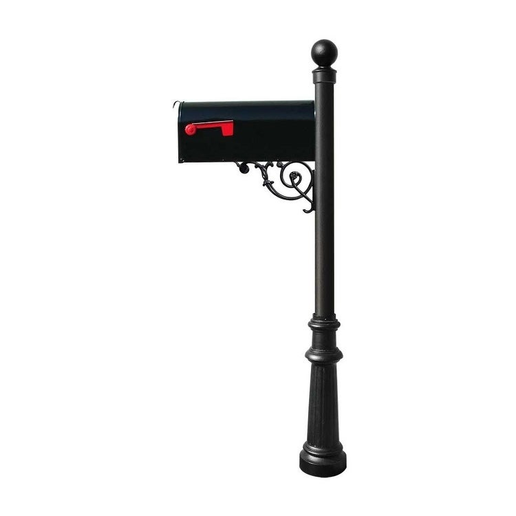 QualArc Lewiston Post System with E1 Economy Mailbox, Mounting Plate, Fluted Base and Ball Finial - Black