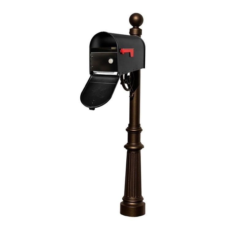 QualArc Lewiston Post System with E1 Economy Mailbox and E1 Locking Insert, Mounting Plate, Fluted Base and Ball Finial - Bronze