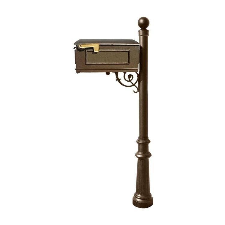 QualArc Lewiston Mailbox Post System with Fluted Base and Ball Finial (No Address Plates Or Numbers) - Bronze