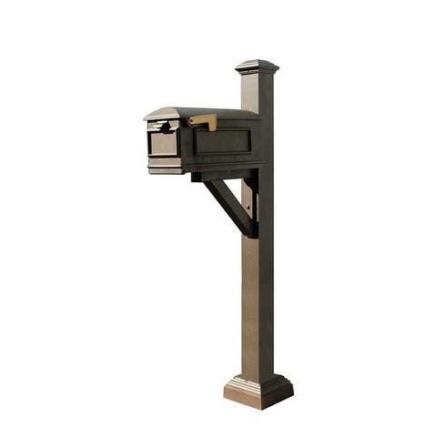 QualArc Westhaven System with Lewiston Mailbox, Square Collar and Pyramid Finial in Bronze
