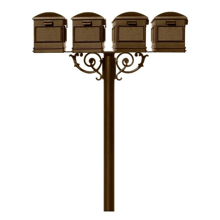 QualArc The Hanford Quad Lewiston Mailbox Post System with Scroll Supports No Decorative Base Support Braces