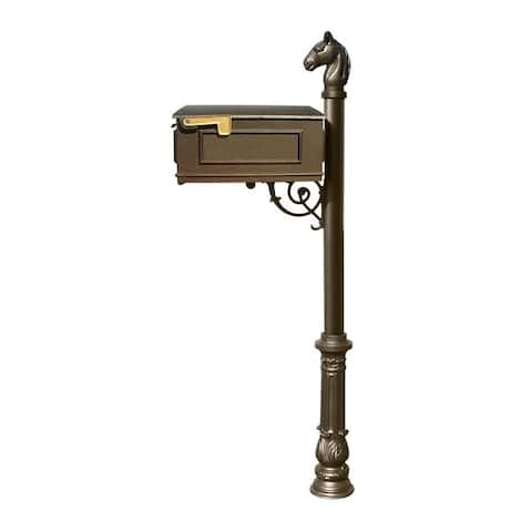 QualArc Lewiston Equine Mailbox Post System with Ornate Base and Horsehead Finial (No Address Plates Or Numbers) - Bronze