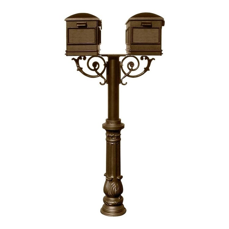 QualArc The Hanford Twin Lewiston Mailbox Post System with Scroll Supports Decorative Ornate base 7, Two Lewiston Mailbox