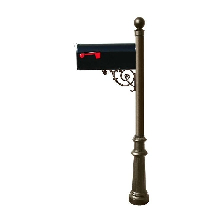 QualArc Lewiston Post System with E1 Economy Mailbox, Mounting Plate, Fluted Base and Ball Finial - Bronze