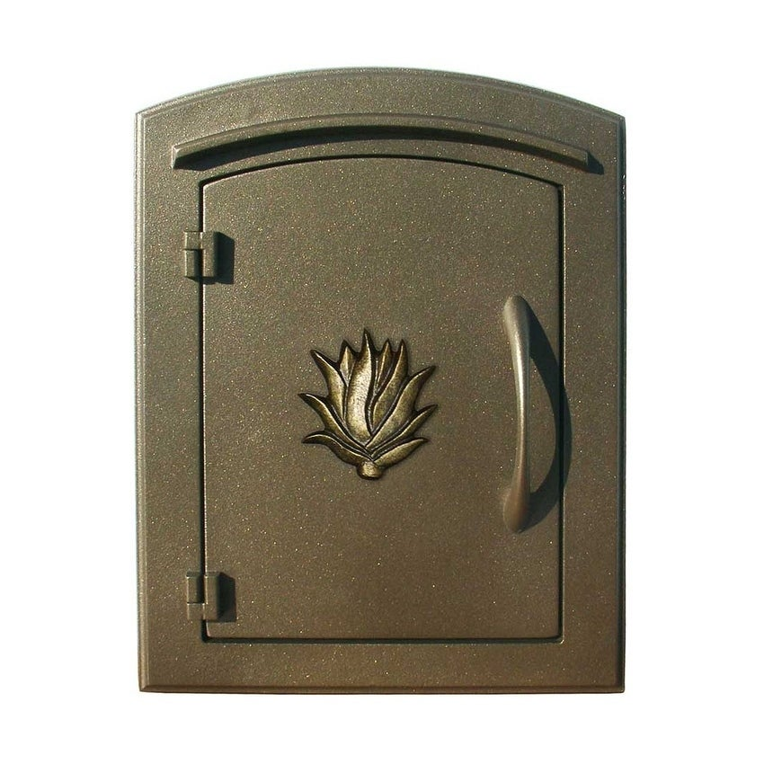 QualArc Manchester Security Drop Chute Mailbox with Decorative Agave Logo Faceplate in Bronze