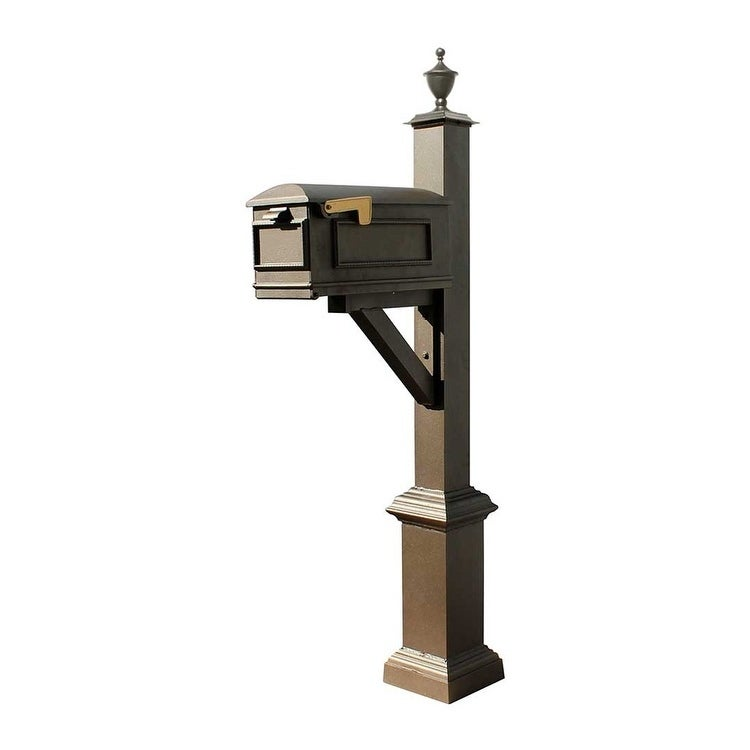 QualArc Westhaven System with Lewiston Mailbox, Square Base and Urn Finial in Bronze