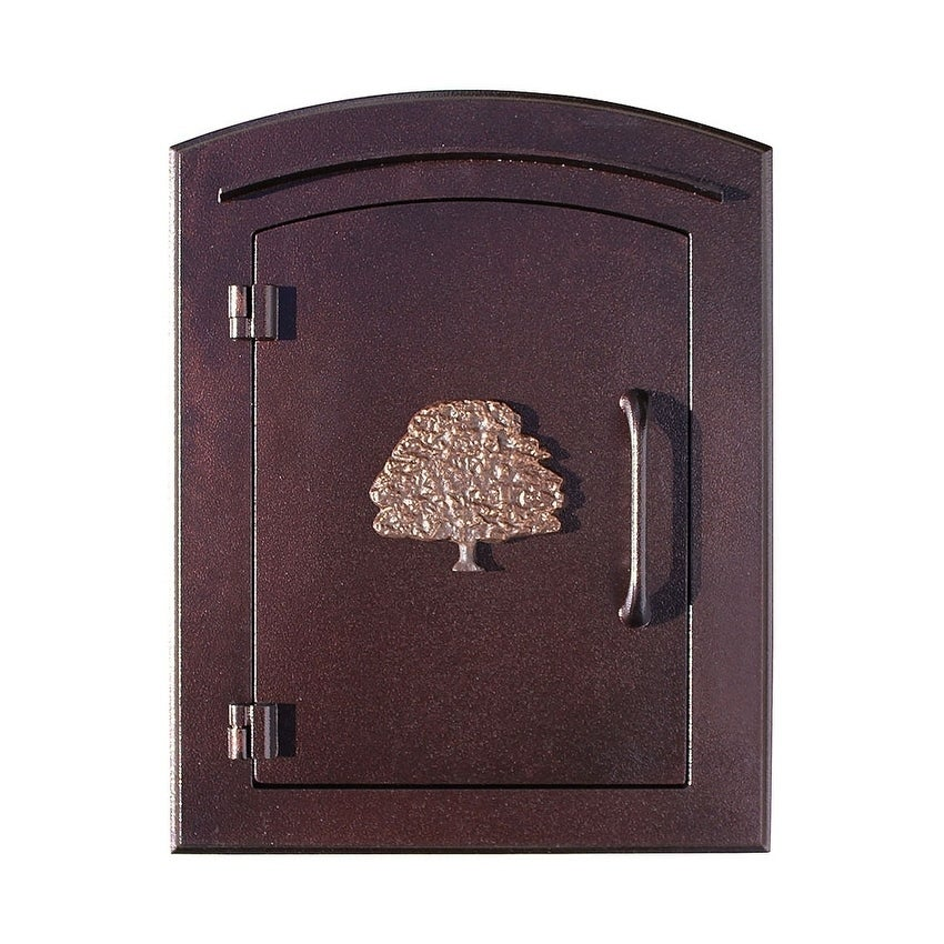 QualArc Manchester Non-Locking Column Mount Mailbox with Decorative Oak Tree Logo in Antique Copper