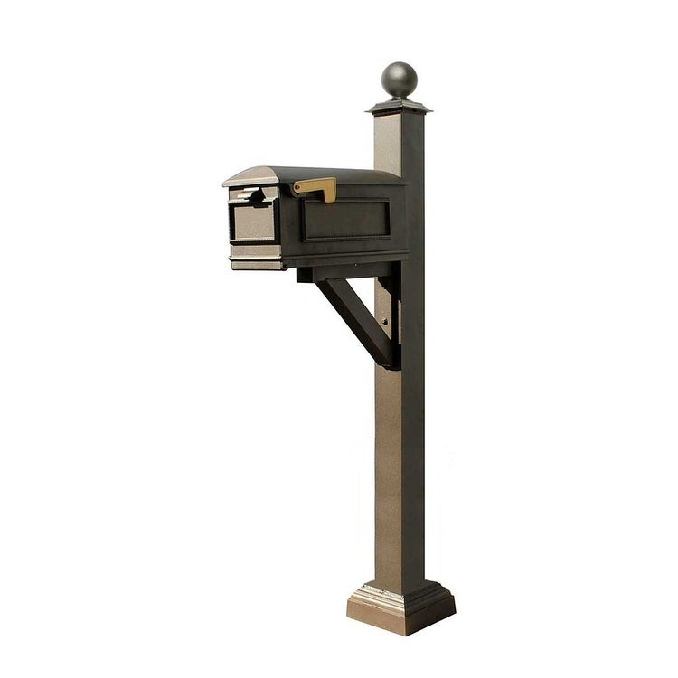 QualArc Westhaven System with Lewiston Mailbox, Square Collar and Large Ball Finial in Bronze