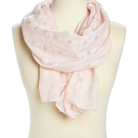 Pink Floral Faux-Pearl Embroidered Sheer Scarf for woman's - Large