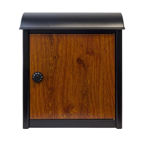 QualArc Leece Wall Mounted Mailbox in Black with Wood Finish Door and Combo Lock