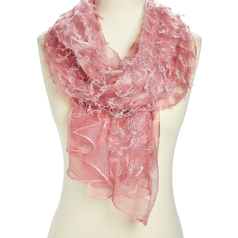Unique Women's Pink Viscose Sheer Textured Lightweight Scarves - Large