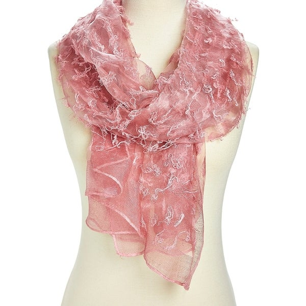 Unique Women's Pink Viscose Sheer Textured Lightweight Scarves - Large. Opens flyout.