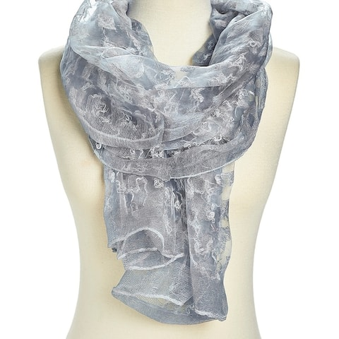 Unique Women's Pink Viscose Sheer Textured Lightweight Scarves - Large