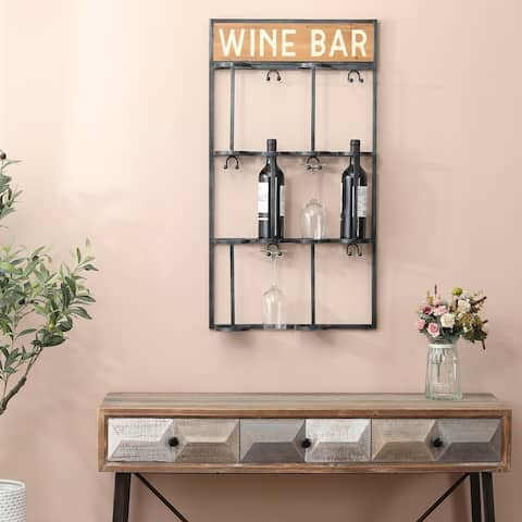 Wood and Metal Wall Mounted Wine Bottle and Glass Rack