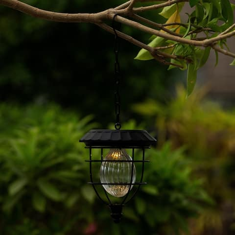 Grayton 5.9-inch Solar Hanging Accent Globe Light in Iron Lantern by Havenside Home