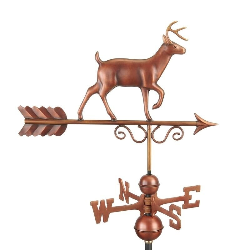 Proud Buck Weathervane - Pure Copper Hand Finished Bronze Patina by Good Directions (Brown)