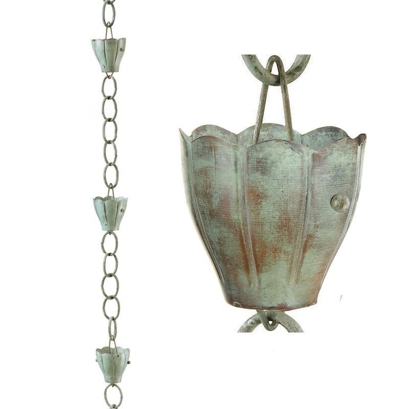 6 Cup Crocus Pure Copper 8.5 ft. Rain Chain by Good Directions