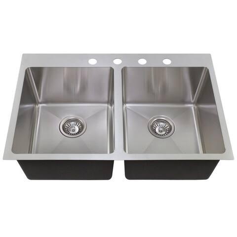 MR Direct T3120D 3/4-inch Topmount Double Bowl Radius Kitchen Sink