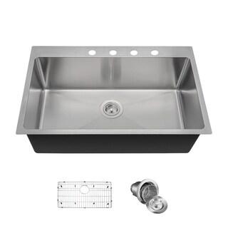 MR Direct T3120S Topmount Kitchen Sink, Grid, and Basket Strainer