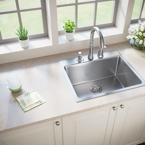 MR Direct T1823 Topmount Single Bowl 3/4-Inch Radius Kitchen Sink