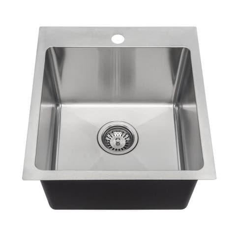 MR Direct T1717 Topmount Single Bowl 3/4-Inch Radius Kitchen Sink