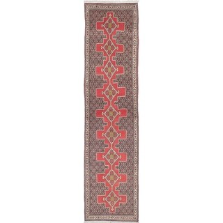 eCarpetGallery  Hand-knotted Senneh Dark Burgundy Wool Rug - 2'11 x 12'10