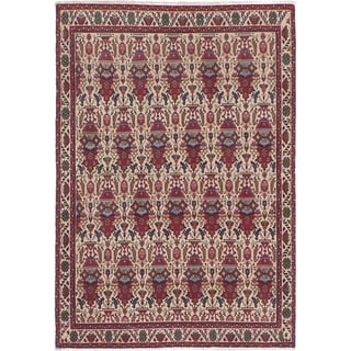 eCarpetGallery  Hand-knotted Abadeh Cream, Red Wool Rug - 3'3 x 4'9