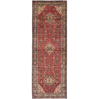 eCarpetGallery  Hand-knotted Hamadan Red Wool Rug - 3'6 x 10'1