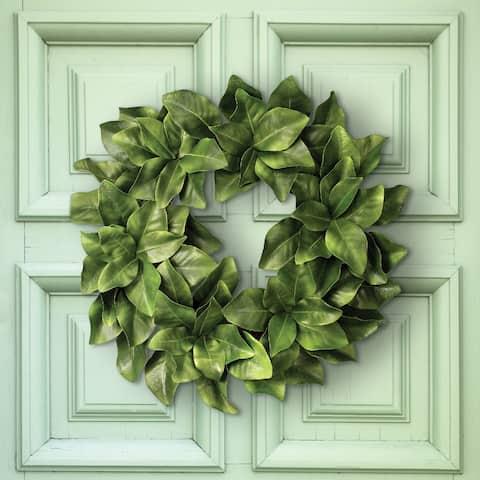 "Eva Magnolia Leaf Wreath 26"""