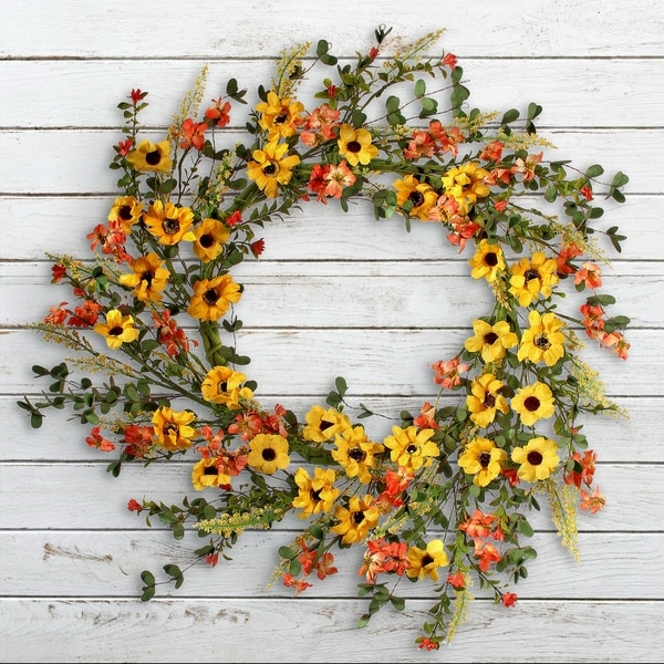 "Aster/Primrose Wreath 22"" (Yellow and Orange)"