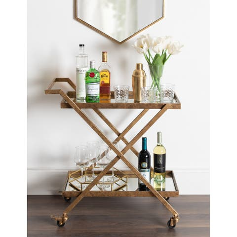 Kate and Laurel Tarrant 2 Mirrored Tray Shelf Bar Cart