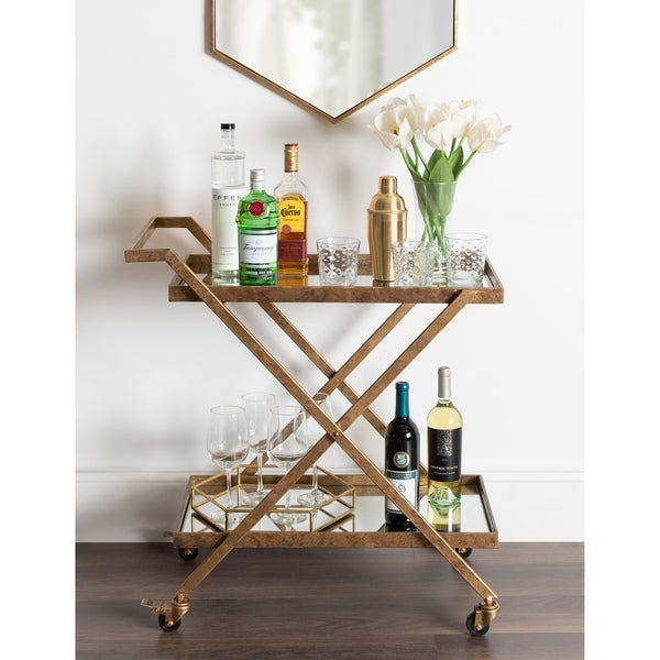 Kate and Laurel Tarrant 2 Mirrored Tray Shelf Bar Cart. Opens flyout.